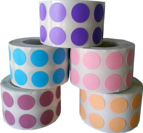 """1/2"""" Color Coding Dot Stickers Pastel Collection 1,000 of Each Pink Peach Dusty Rose Purple Teal 5,000 Total Labels"""