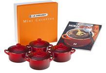 Le Creuset Stoneware Mini Cocottes And Cookbook (Set of 4), 8 oz, Cerise