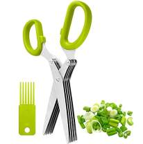 Herb Scissors INVODA Multipurpose Kitchen Shears 5 Extremely Sharp Stainless Steel Blades Handy Cleaning Comb Multi Blade Time Saving Cut, Slice Chop Herbs Fast (Green)