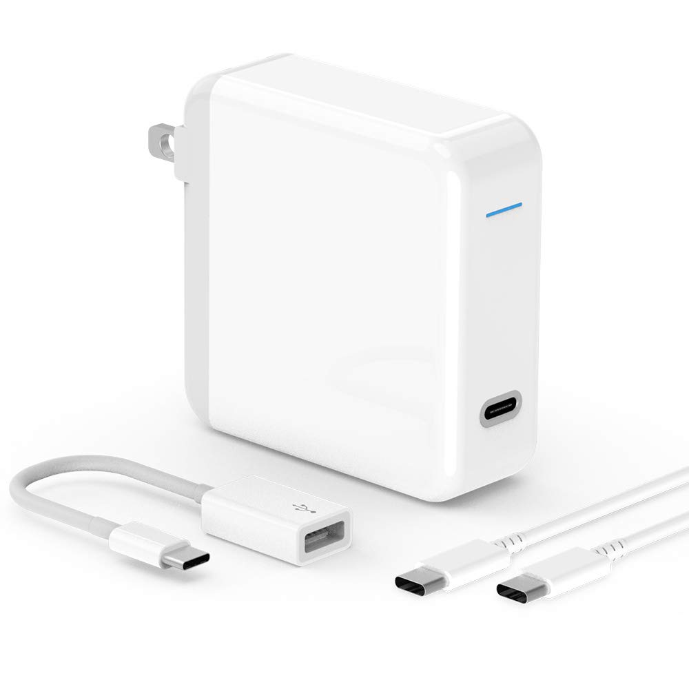 61W USB C Charger Power Adapter for MacBook Pro, MacBook 12 inch, MacBook Air, Lenovo, 2020/2018 iPad Pro 12.9 Gen 4/3, iPad Pro 11 Gen 2/1, Thunderbolt 3, LED, 6.6ft USB C to C Cable, A1706, A1708
