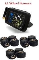 SYKIK-TPMS Real Time Tire Pressure Monitoring System for Cars, RVs and Trucks, 4 to 22 Wheels -Theft Sensors, with 3-Year US Warranty (12) …