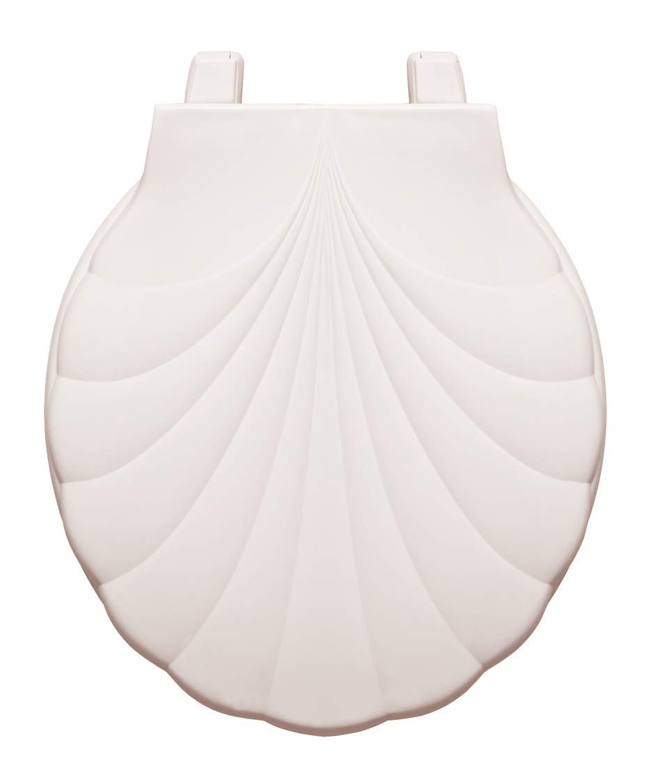 Centoco HP30SLC-001 Sea Shell Design Round Plastic Toilet Seat with Lift & Clean, White
