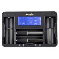 Alonefire SC-04 Universal Smart Portable Battery Charger USB Rechargeable Battery Chargers 4 Bay 5V Input with LCD Display for Li-ion 26650 22650 18650 17670 17500 14500 Ni-MH Ni-Cd AA AAA AAAA C 3.7V