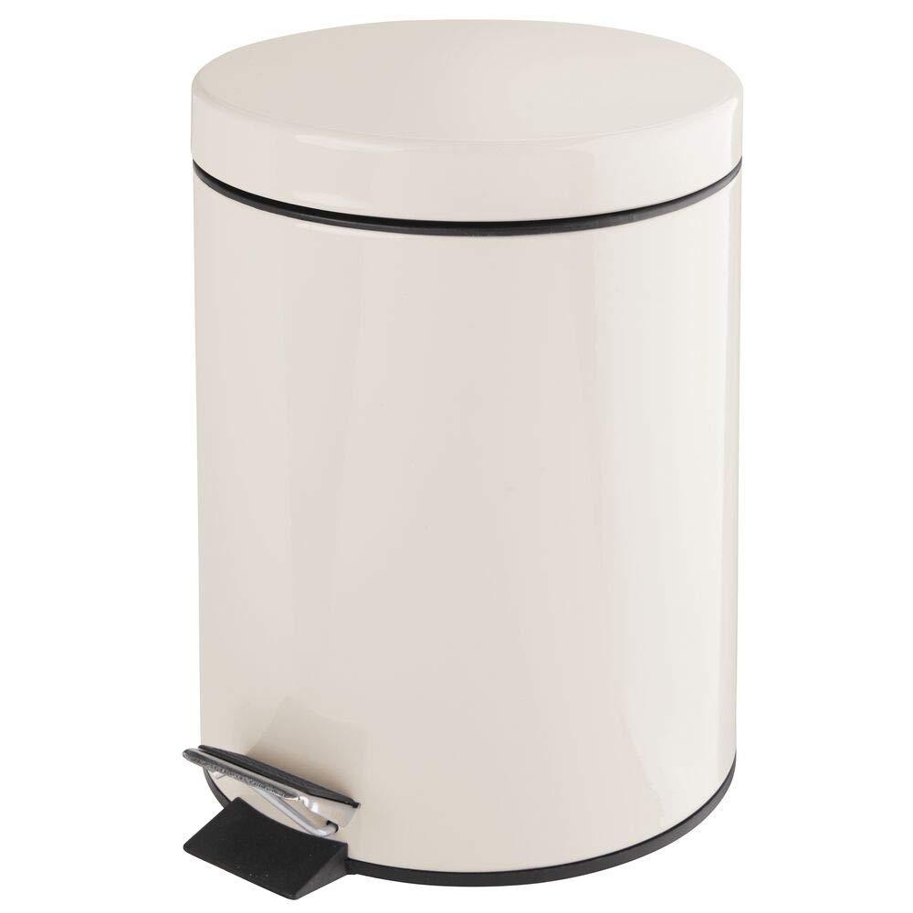 mDesign 5 Liter Round Small Metal Step Trash Can Wastebasket, Garbage Container Bin - for Bathroom, Powder Room, Bedroom, Kitchen, Craft Room, Office, Removable Liner Bucket - Cream/Beige