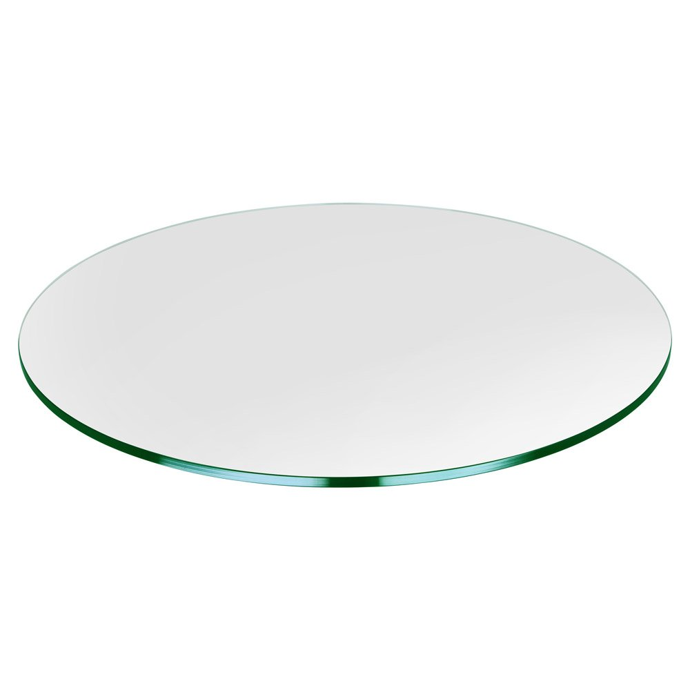 """Dulles Glass and Mirror 28"""" Round Glass Table Top 1/4"""" Inch (6mm) Thick Flat Polish Edge Tempered, Clear"""