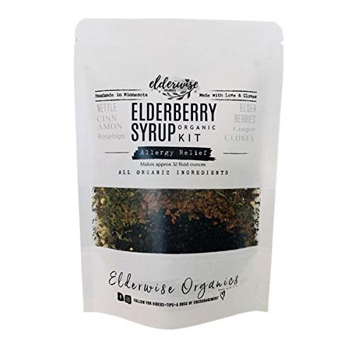 Elderberry Syrup Kit - Organic Allergy Relief - Makes Approx. 32oz - Comes with Brewing Bag - Organic Ingredients - Elderberries - Rosehips - Ginger - Nettle - Cinnamon - Cloves - Elderwise