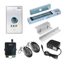 Visionis FPC-7472 One Door Access Control for in Swinging Door 300lbs Electromagnetic Lock Kit with Wireless Receiver + Remote + VIS-7013 Exit Button Kit