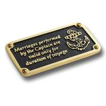 The Metal Foundry Nautical Themed Gift Plaque. Marriages Performed Boating Or Sailing Brass Sign is A Great Birthday Present for Him