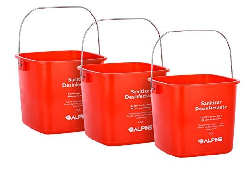 Alpine Industries Commercial Sanitizing Cleaning Pail - Heavy Duty Sanitizer Bucket - Cleaning Fluid Bucket - Cleaning Bucket for Offices, Restaurants, School, Bathrooms (Red, 6 Qt)
