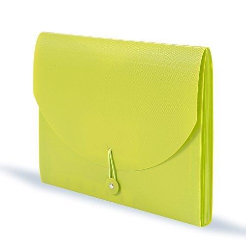 DocIt 7 Pocket Expanding File Folder for Letter Size Document Storage, Fits Standard File Drawers, Lime Green (00865-LM)