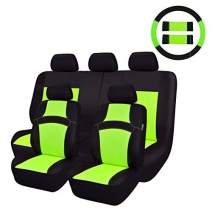 CAR PASS Rainbow Universal Fit Car Seat Cover -100% Breathable with 5mm Composite Sponge Inside,Airbag Compatible(14PCS, Extreme Green)