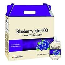Chunho Food Blueberry Juice 100, Contains 100% Blueberry Juice. Neuroprotective Function Helps Relieve Eye Fatigue and Restore Eye Sight. No Preservatives and Artificial Additives. [12 Pack]