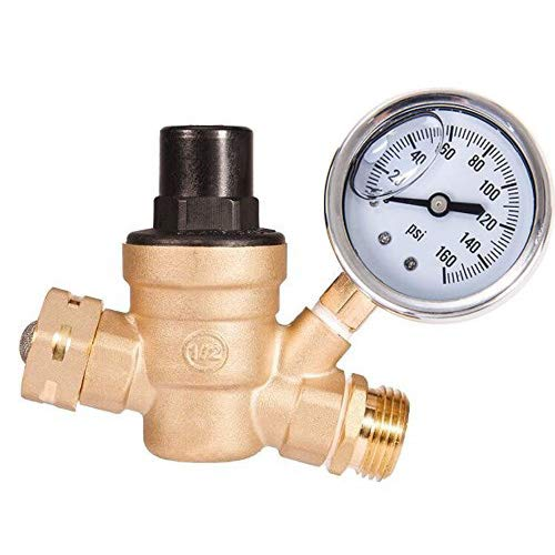 """AB Adjustable Water Pressure Regulator with Gauge and Filter, Brass Lead-Free 3/4"""" NH Thread for Camper, RV Trailer"""