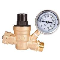 "AB Adjustable Water Pressure Regulator with Gauge and Filter, Brass Lead-Free 3/4"" NH Thread for Camper, RV Trailer"