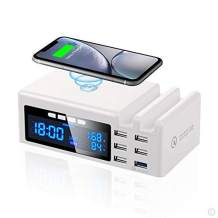 Wireless Charging Station for Multiple Devices, 48W 6 USB Ports Quick Charge 3.0 LCD Display, Wireless USB Charger Clock for Phone Tablet (C-1)