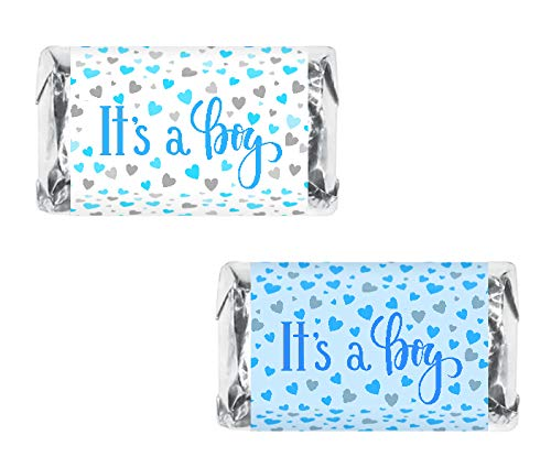 60 Its a Boy Blue Baby Shower Miniatures Candy Bar Wrapper, Baby Shower Miniatures Candy Bar Stickers