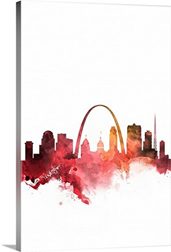 "CANVAS ON DEMAND 2414512_24_16x24_None CanvasOnDemand Circle Group Premium Thick-Wrap Canvas Entitled St. Louis Watercolor Cityscape Wall Art Print, 16"" x 24"""