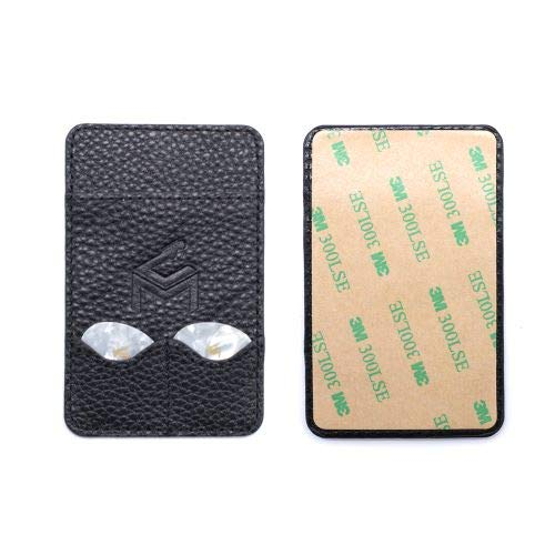Universal Phone Case Attachment Genuine Leather Guitar Picks and Credit Card Holder (Black)