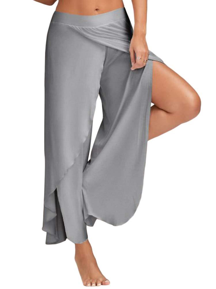 Tutorutor Plus Size High Waist Split Yoga Pants Layered Loose Palazzo Lounge Workout Pants