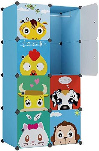 """KOUSI Kid Clothes Storage Organizer Baby Dresser Kid Closet Baby Clothes Storage Cabinet for Kids Room Baby Wardrobe Toddler Closet Childrens Dresser (Blue, 28""""(W) x 14""""(D) x 56""""(H))"""