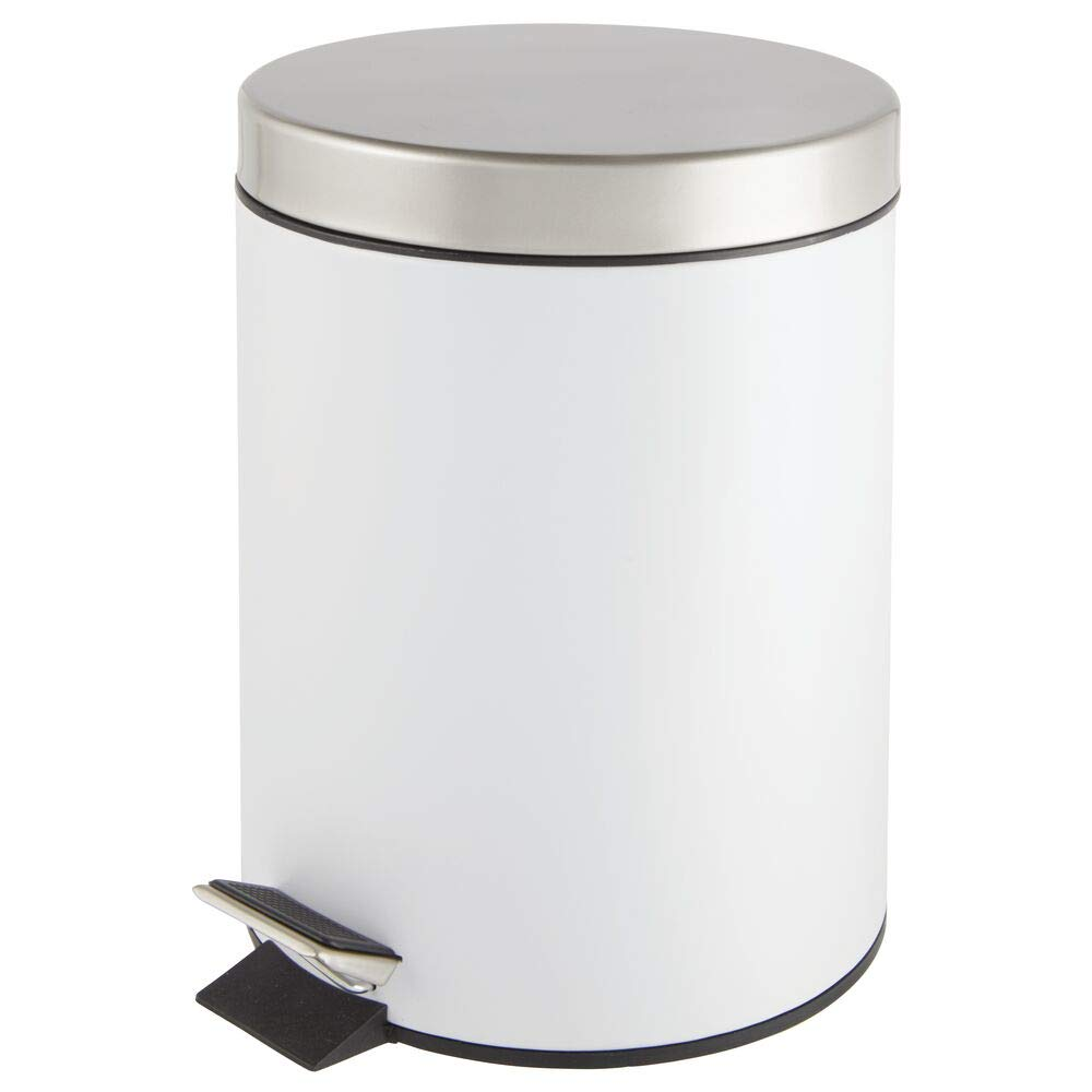 mDesign 5 Liter Round Small Metal Step Trash Can Wastebasket, Garbage Container Bin - for Bathroom, Powder Room, Bedroom, Kitchen, Craft Room, Office, Removable Liner Bucket - White/Satin