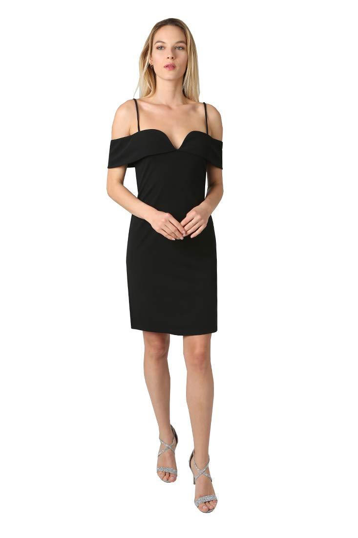 bebe Women's Fold Over Shoulders w Spaghetti Strap Scuba Crepe Chic Bodycon Dress