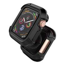 Compatible with Watch Case 38mm, Shock Proof Bumper Cover Scratch Resistant Protective Rugged Case Replacement for Watch Series 3, Series 2, Series 1 38mm, Black
