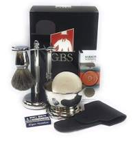 GBS Men's Shaving Set - MK 34C HD Made in Soligen Germany Double Edge Safety Razor, Pure Badger Bristle Hair Brush, Razor & Stand, Shaving Bowl,Soap, Leather Case + 10 Blades For The Best Wet Shave