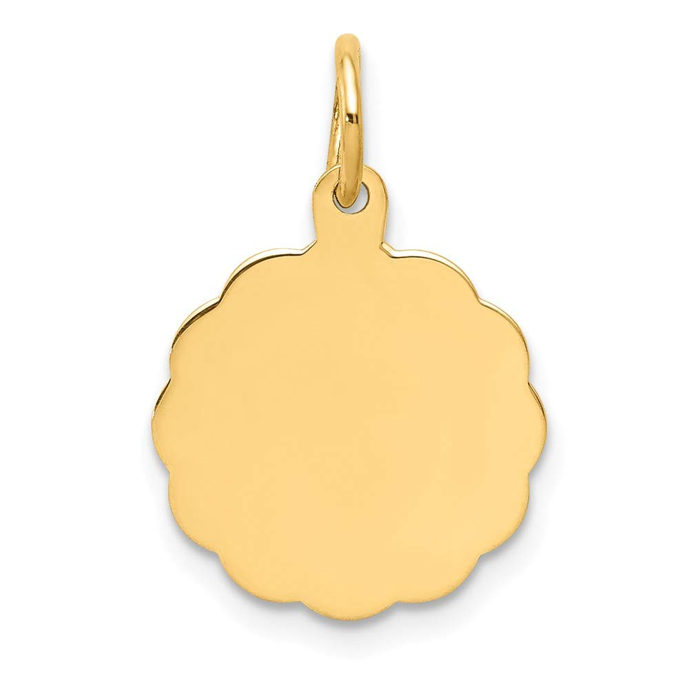14k Yellow Gold .013 Gauge Engravable Scalloped Disc Pendant Charm Necklace Shaped Fine Jewelry For Women Gifts For Her