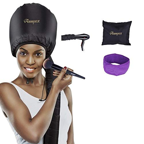 Bonnet Hood Hair Dryer Attachment, Anmyox Hooded Hair Dryer Home Hair Drying Cap for Styling,Curling and Hair Deep Conditioning,Adjustable Large Soft Bonnet for Hand-held Blowing Hair Dryers.