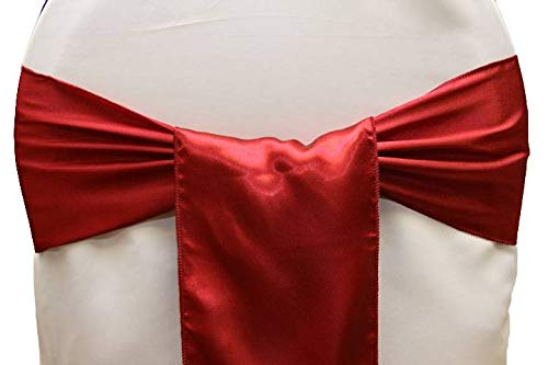 mds Pack of 10 Satin Chair Sashes Bow sash for Wedding and Events Supplies Party Decoration Chair Cover sash -Apple Red