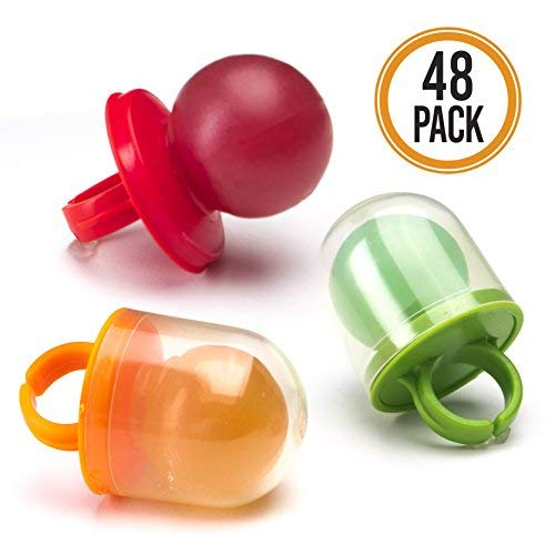 Pacifier Pop Candy Rings - 48-Pack Hard Candy Lollipop Ring Suckers in Assorted Colors and Flavors (Kosher, NET WT. 27.09 OZ, 768g)