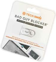 Tech Candy Bad Guy Blocker Removable Webcam Cover Camera Curtain for Web Security - Works on laptops, Phones, and Tablets - White Color with Silver Lashes