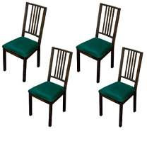 Argstar 2,4,6 Pcs Velvet Dining Chairs Seat Cover, Velvet Chair Seats Cover for Dining Room, Kitchen Chair Cushion Covers Set of 4, Green