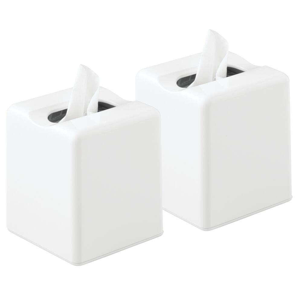 mDesign Modern Square Plastic Paper Facial Tissue Box Cover Holder for Bathroom Vanity Countertops, Bedroom Dressers, Night Stands, Desks and Tables - 2 Pack - White