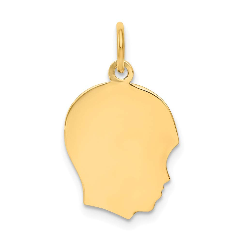 14k Yellow Gold Medium .013 Gauge Facing Right Engravable Boy Head Pendant Charm Necklace Disc Girl Fine Jewelry For Women Gifts For Her
