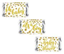 60 Gold Oh Baby Boy Baby Shower Miniatures Candy Bar Wrapper, Its a Boy Baby Shower Miniatures Candy Bar Stickers, White and Gold