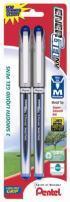 Pentel EnerGel NV Liquid Gel Pen, 0.7mm, Metal Tip, Blue Ink, 2 Pack (BL27BP2C)