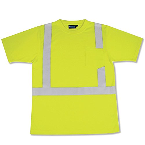 ERB 14112 9601S ANSI Hi-Vizability Short Sleeve Jersey Knit Shirt, Lime Green, Large