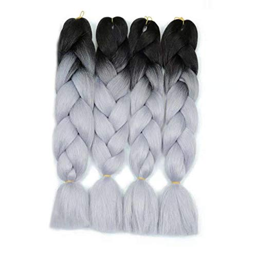 Ombre Gray Jumbo Braiding Hair Extension 4Pcs/Lot 100g/pc Kanekalon Fiber for Twist Braiding Hair (1B-gray)