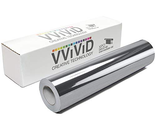"VViViD Chrome Silver Gloss DECO65 Permanent Adhesive Craft Vinyl for Cricut, Silhouette & Cameo (50ft x 11.8"" Bulk Roll)"