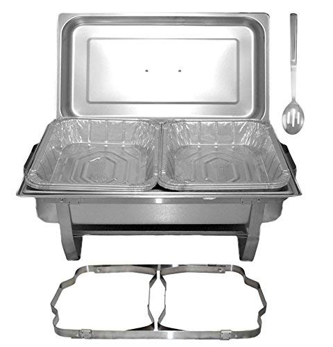 TigerChef Chafing Dish Buffet Set - Chaffing Dishes Stainless Steel - Chafers and Buffet Warmer Set with Disposable Half Size Pans, Slotted Spoon and Folding Frame- Food Warmers for Parties Buffets