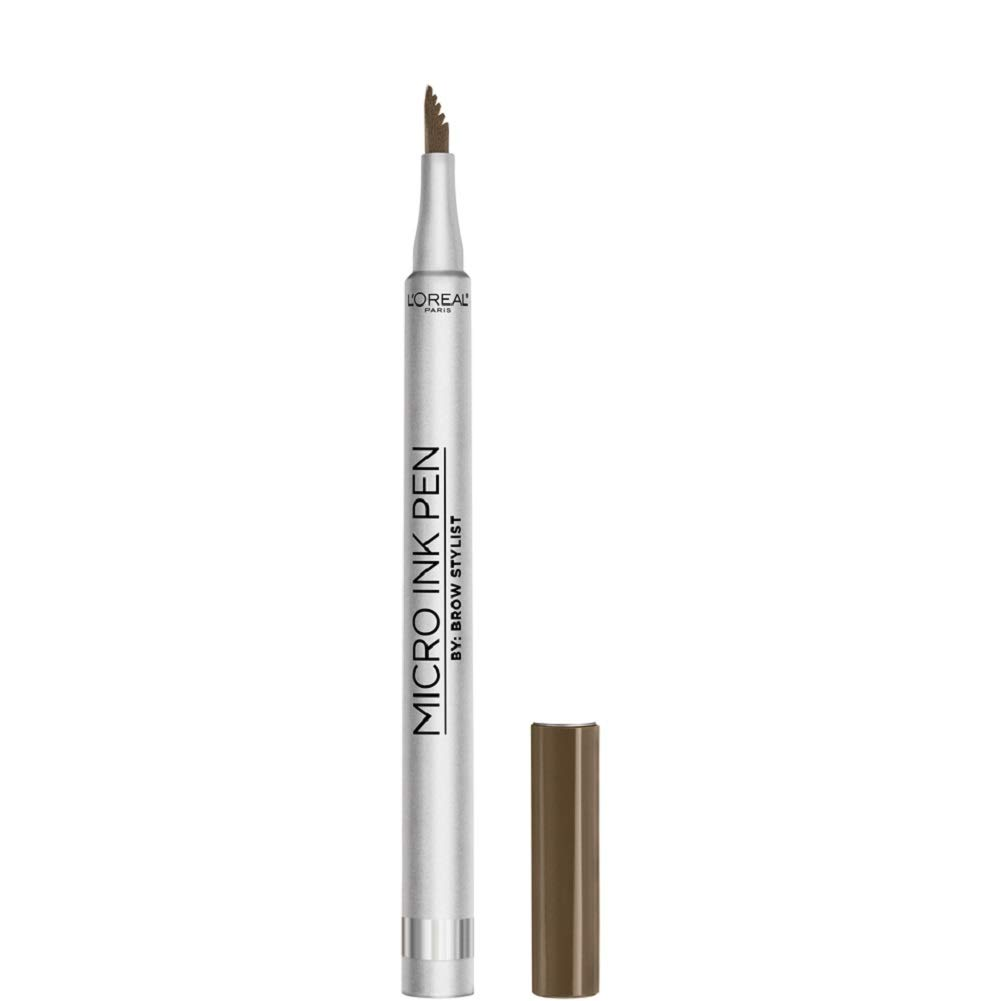 L'Oreal Paris Micro Ink Pen by Brow Stylist, Longwear Brow Tint, Hair-Like Effect, Up to 48HR Wear, Precision Comb Tip, Brunette, 0.033 fl. oz.