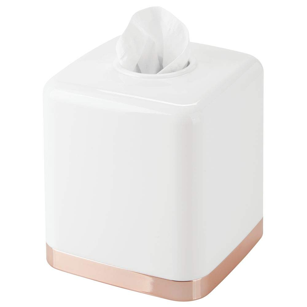 mDesign Modern Square Plastic Disposable Facial Tissue Box Cover and Holder for Bathroom Vanity Countertops, Bedroom Dressers, Night Stands, Desks, Tables - White/Rose Gold