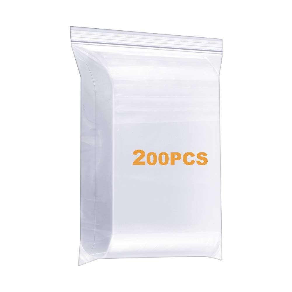 """200 Pack 2"""" x 3"""" Durable Small Thick Clear Zip Poly Seal Lock Bags Heavy Duty 4 Mil Reclosable Plastic Zip Bag Jewelry Earrings Necklace Ring Coin Beads Pill Zipper Bags"""