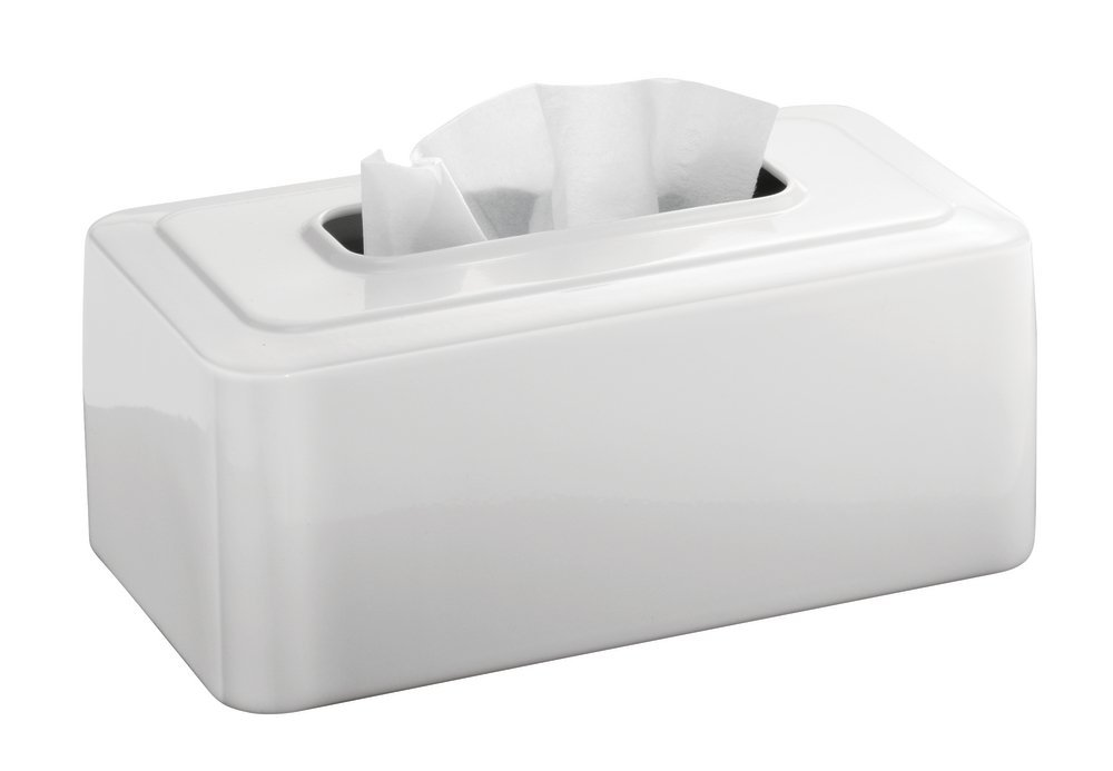 mDesign Modern Metal Tissue Box Cover for Disposable Paper Facial Tissues, Rectangular Holder for Storage on Bathroom Vanity, Countertop, Bedroom Dresser, Night Stand, Desk, Table - White