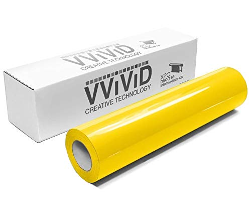VViViD Yellow Gloss 11.8 Inches x 84 Inches (7 Feet) DECO65 Permanent Adhesive Craft Vinyl for Cricut, Silhouette & Cameo