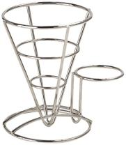 G.E.T. Enterprises Stainless Steel Metal Cone French Fry Holder with Sauce Cup Holder Stainless Steel Specialty Servingware Collection 4-88864 (Pack of 1)