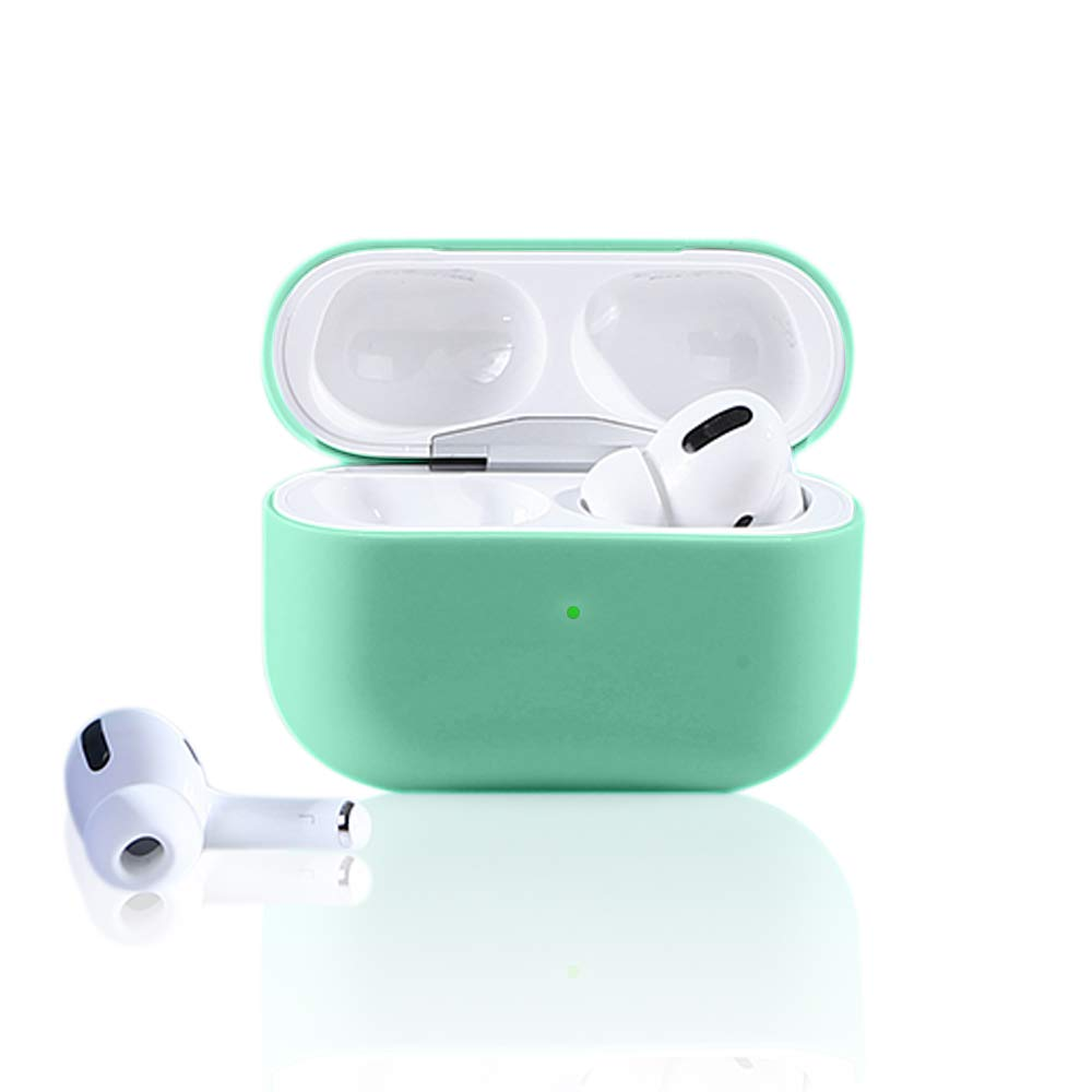 Ownest Compatible AirPods Pro 2019 Case Cute Soft Slim Silicone Shockproof No Dust Cover Case Visible Front LED for Airpods Pro 2019-Green