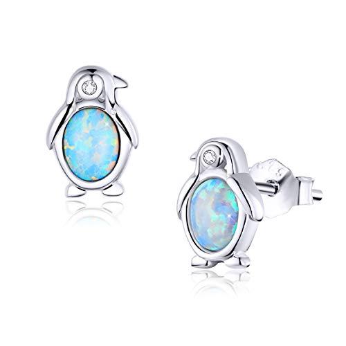 925 Sterling Silver Synthetic Penguin Opal Earrings Hypoallergenic Earrings Cute Stud Earrings Birthday Gifts for Her